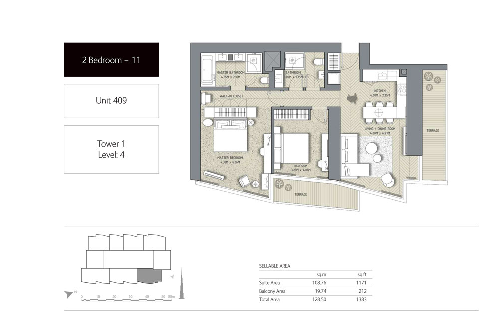 2-Bedroom,Unit-409,Tower-1,Size -1383 Sq-Ft