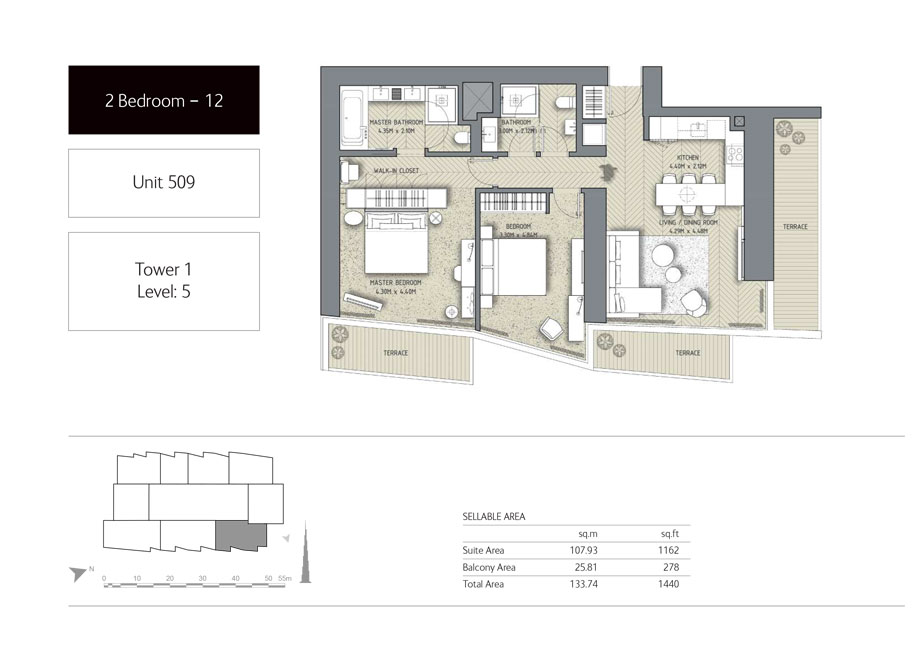 2-Bedroom,Unit-509,Tower-1,Size -1440 Sq-Ft