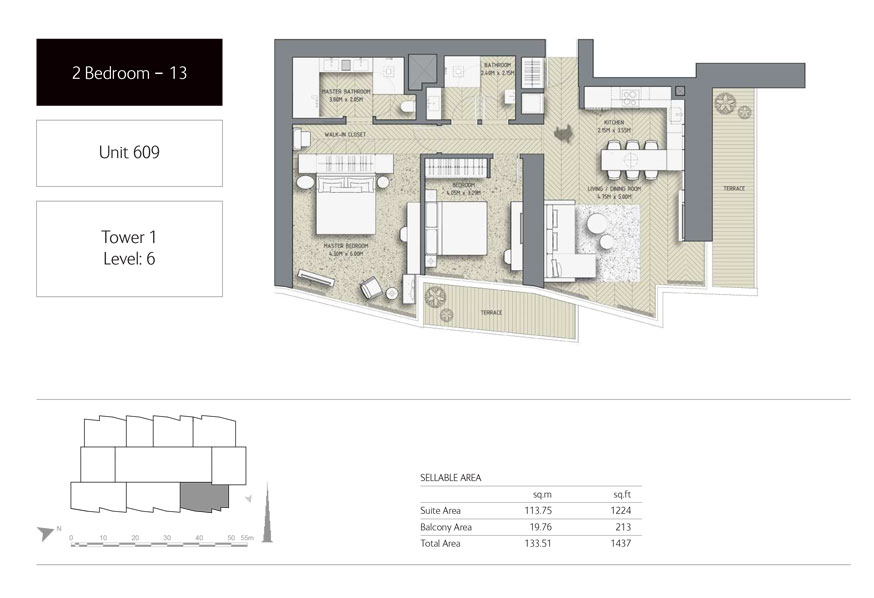 2-Bedroom,Unit-609,Tower-1,Size -1437 Sq-Ft