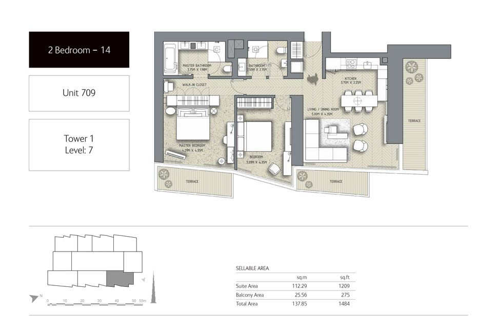2-Bedroom,Unit-709,Tower-1,Size -1484 Sq-Ft
