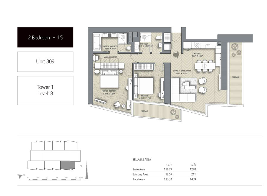 2-Bedroom,Unit-809,Tower-1,Size -1489 Sq-Ft