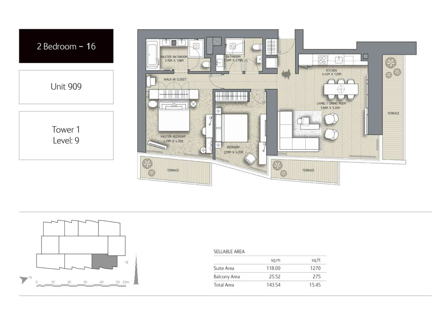 2-Bedroom,Unit-909,Tower-1,Size -1545 Sq-Ft