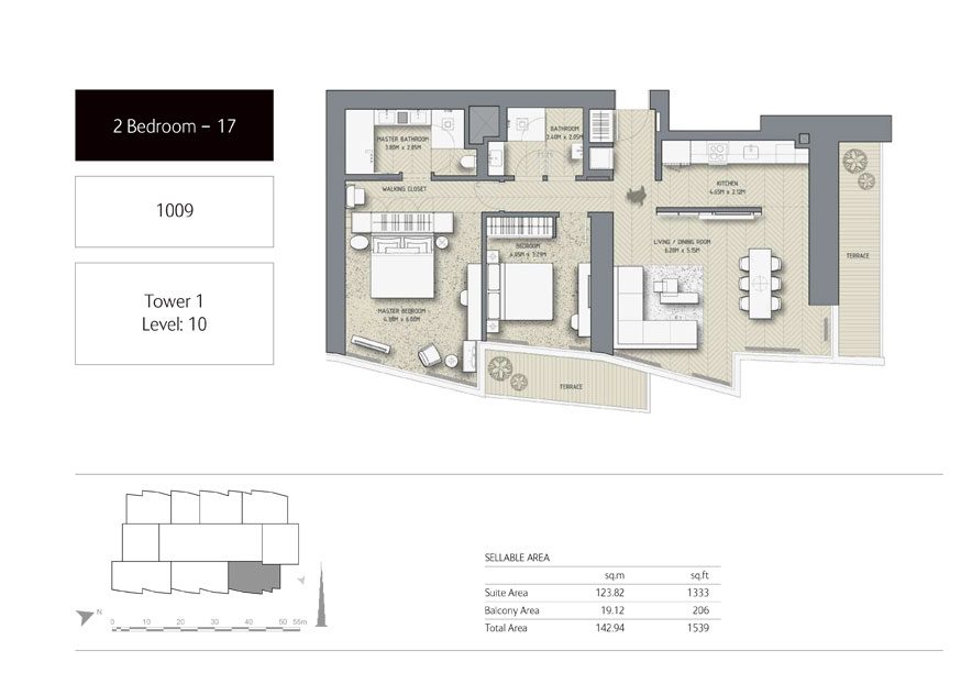 2-Bedroom,Unit-1009,Tower-1,Size -1539 Sq-Ft