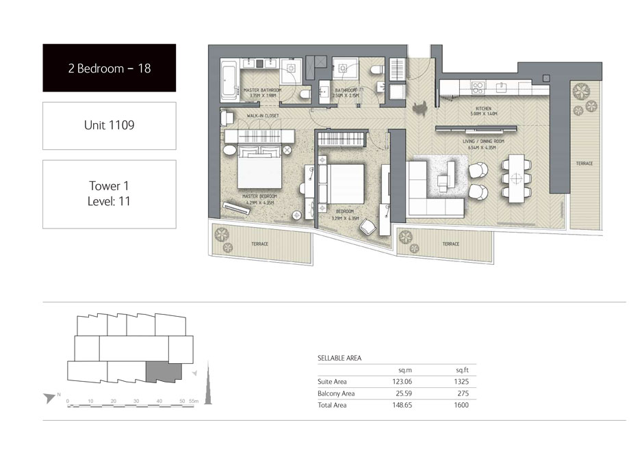 2-Bedroom,Unit-1109,Tower-1,Size -1600 Sq-Ft
