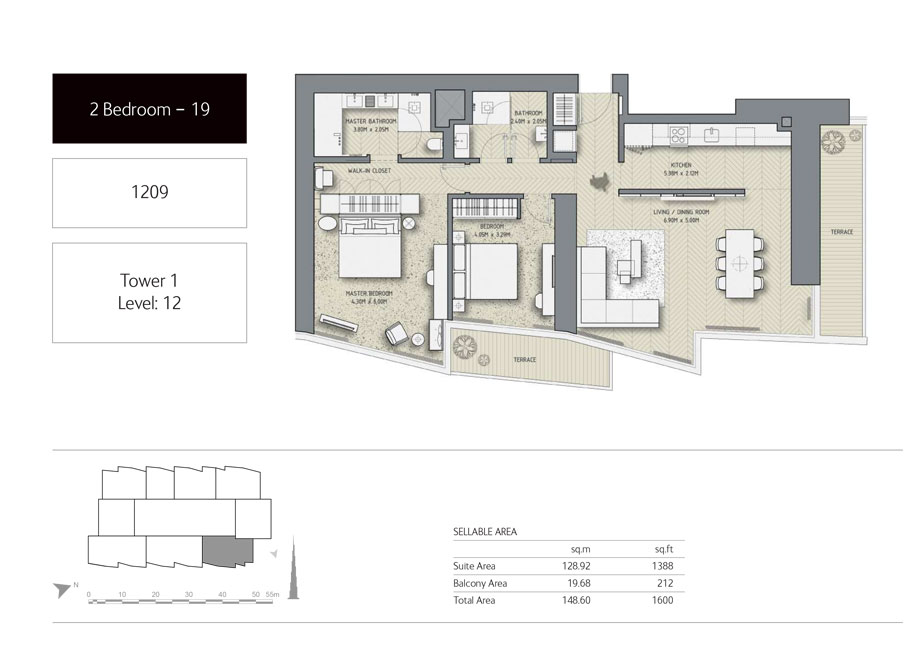 2-Bedroom,Unit-1209,Tower-1,Size -1600 Sq-Ft