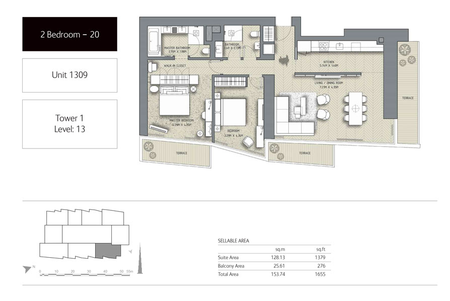 2-Bedroom,Unit-1309,Tower-1,Size -1655 Sq-Ft