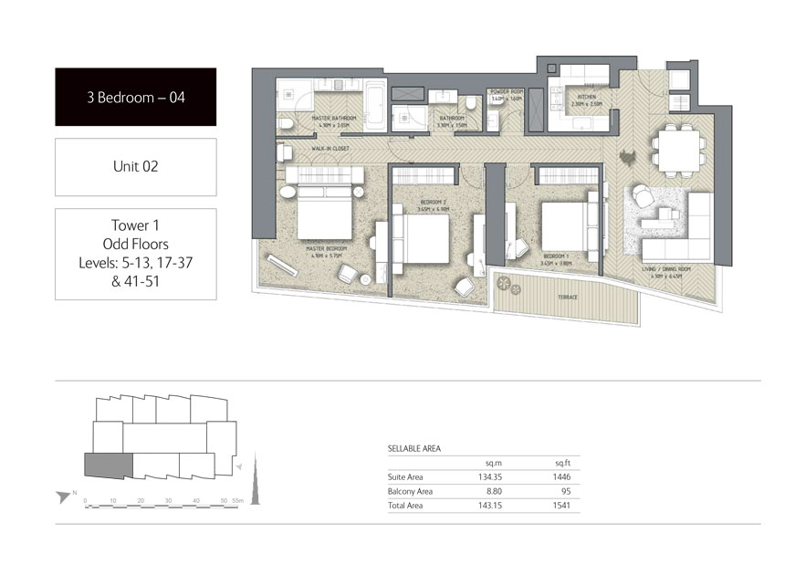 3-Bedroom,Unit-01,Tower-1,Size -1541 Sq-Ft