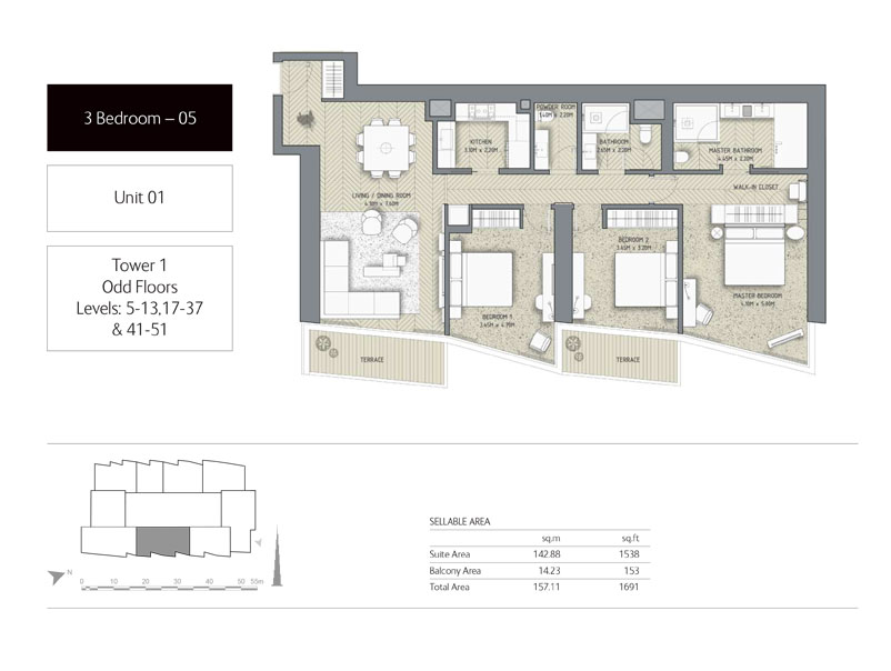 3-Bedroom,Unit-01,Tower-1,Size -1691 Sq-Ft