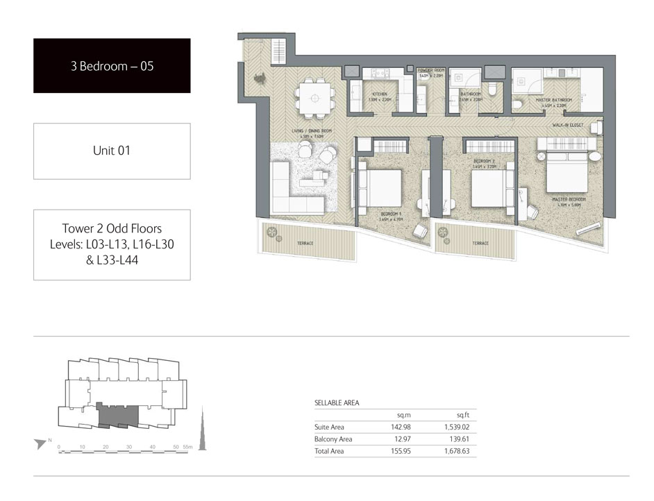3-Bedroom,Unit-1,Tower-2,Size -1678.63 Sq-Ft