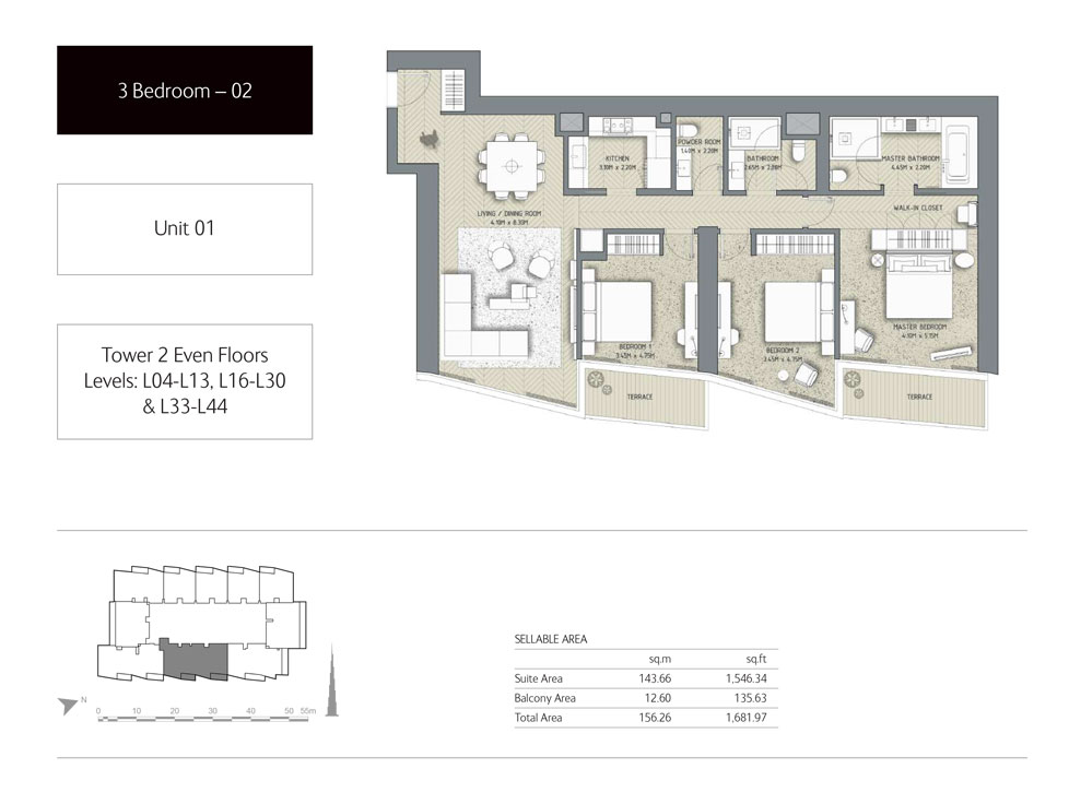 3-Bedroom,Unit-1,Tower-2,Size -1681.97 Sq-Ft