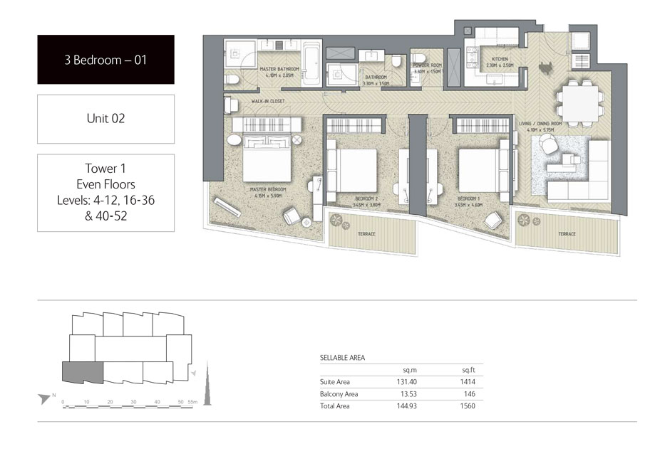 3-Bedroom,Unit-02,Tower-1,Size -1560 Sq-Ft