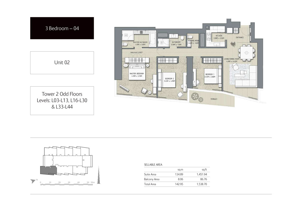 3-Bedroom,Unit-2,Tower-2,Size -1538.70 Sq-Ft