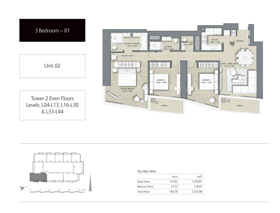 3-Bedroom,Unit-2,Tower-2,Size -1553.88 Sq-Ft