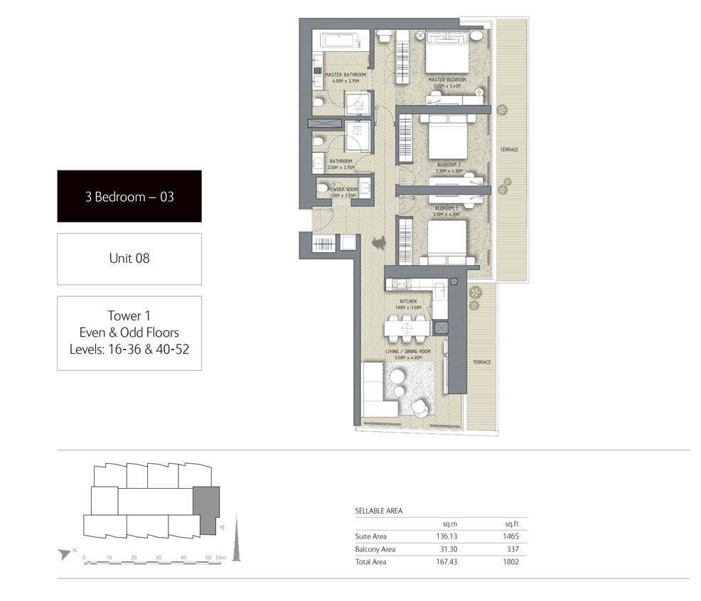 3-Bedroom,Unit-08,Tower-1,Size -1802 Sq-Ft