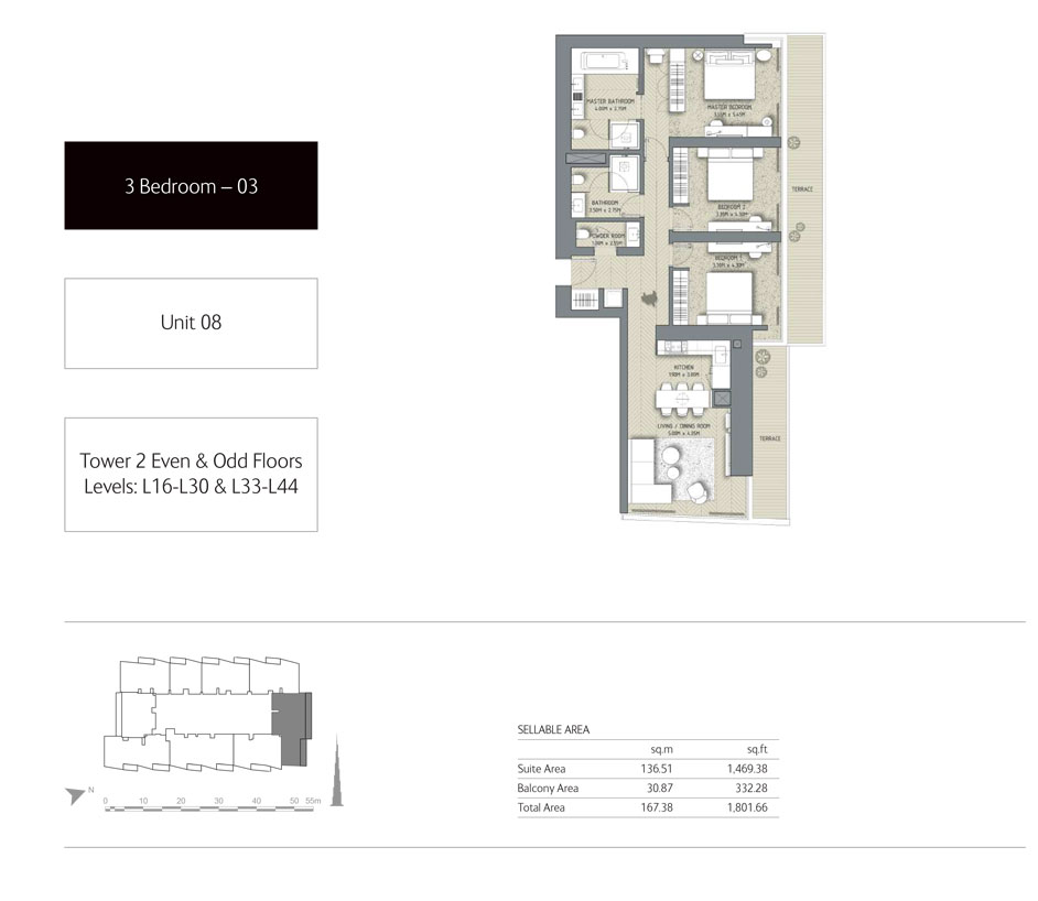 3-Bedroom,Unit-8,Tower-2,Size -1801.66 Sq-Ft