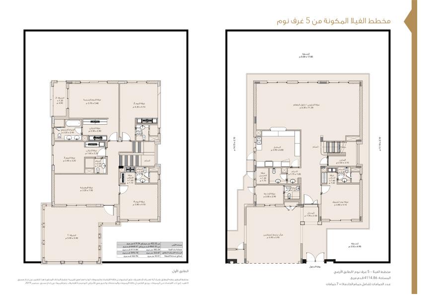 5 Bedroom Villas, Size 6668 Sq Ft