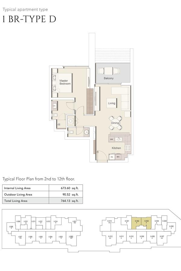 1 Bedroom-Type D, Size 764 Sq Ft