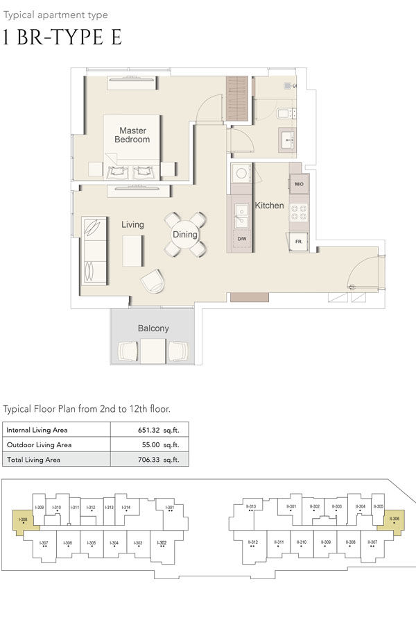 1 Bedroom-Type E, Size 706 Sq Ft