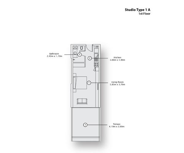 Studio Type 1 A, 1st Floor