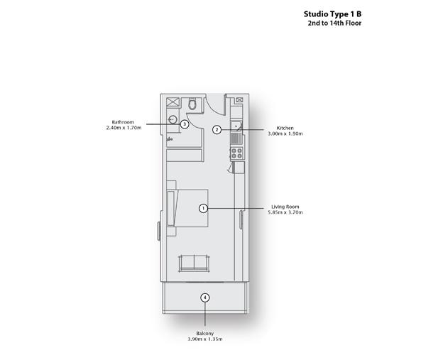 Studio Type 1 B, 2nd to 14th Floor