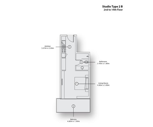 Studio Type 2 B, 2nd to 14th Floor