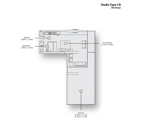 Studio Type 3 B, 7th Floor