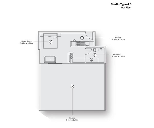 Studio Type 4 B, 9th Floor