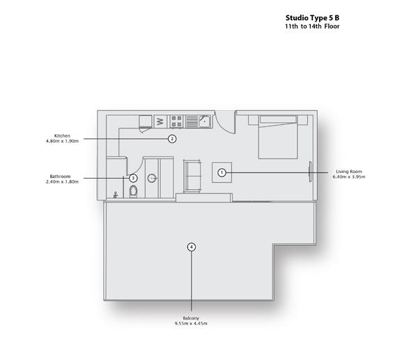 Studio Type 5 B, 11th to 14th Floor