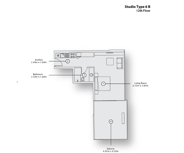 Studio Type 6 B, 12th Floor