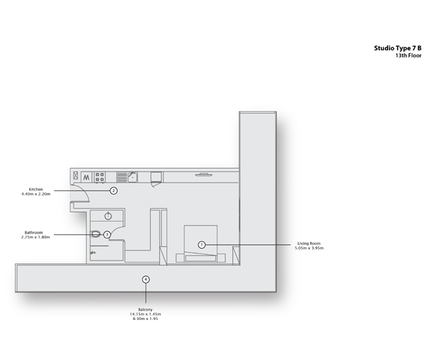 Studio Type 7 B, 13th Floor