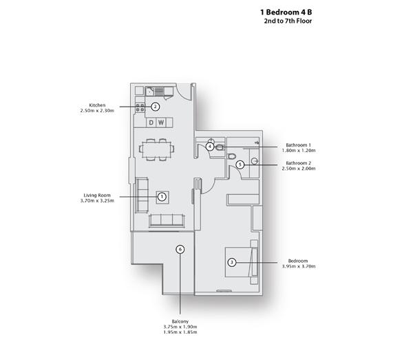 1 Bedroom 4 B, 2nd to 7th Floor