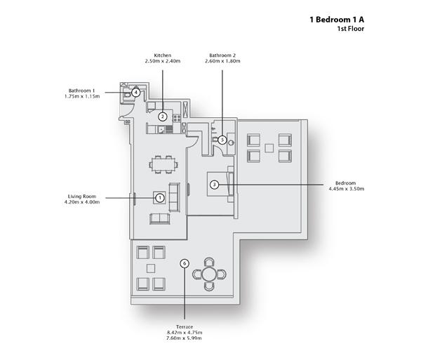 1 Bedroom Apartment 1 A, 1st Floor