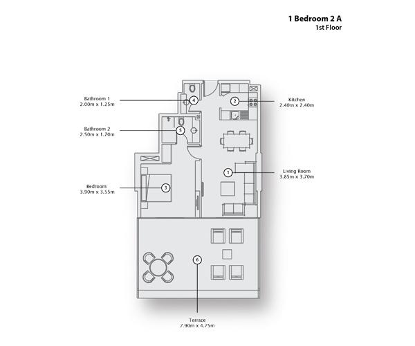 1 Bedroom Apartment 2 A, 1st Floor