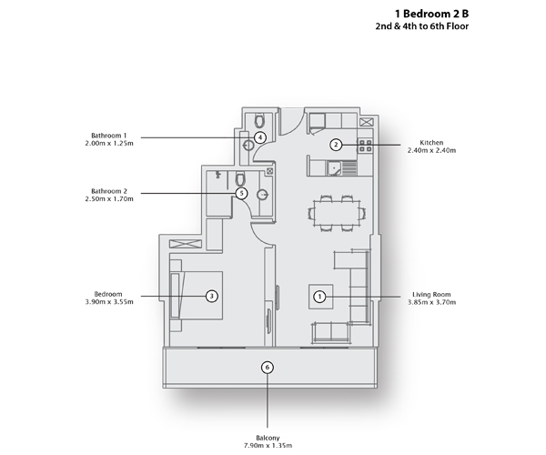1 Bedroom Apartment 2 B, 2nd & 4th to 6th Floor