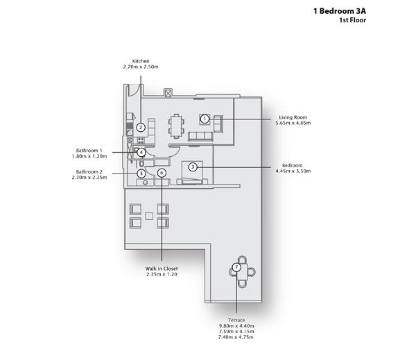 1 Bedroom Apartment 3 A, 1st Floor