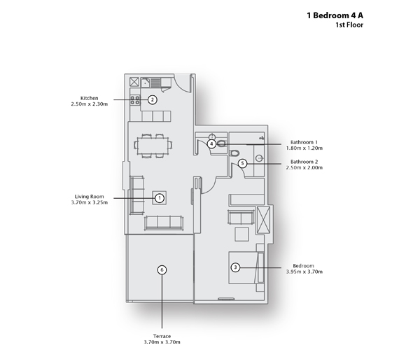 1 Bedroom Apartment 4 A, 1st Floor