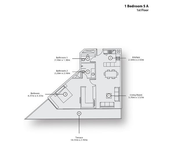 1 Bedroom Apartment 5 A, 1st Floor