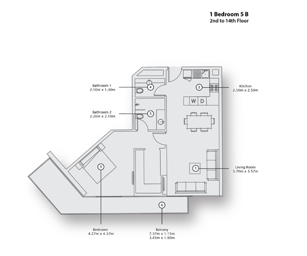1 Bedroom Apartment 5 B, 2nd to 14th Floor