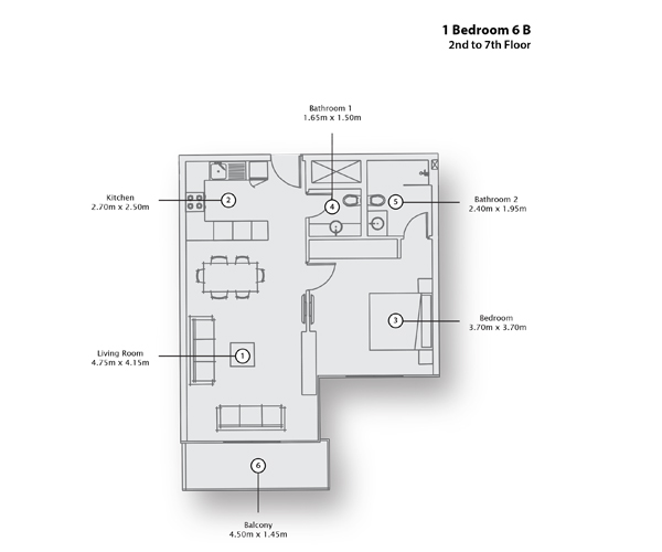 1 Bedroom Apartment 6 B, 2nd to 7th Floor