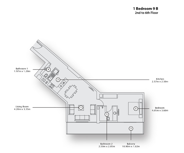 1 Bedroom Apartment 9 B, 2nd to 6th Floor
