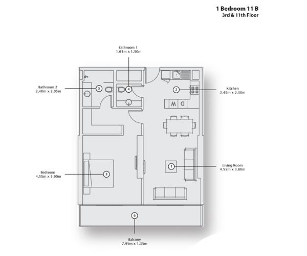 1 Bedroom Apartment 11 B, 3rd & 11th Floor