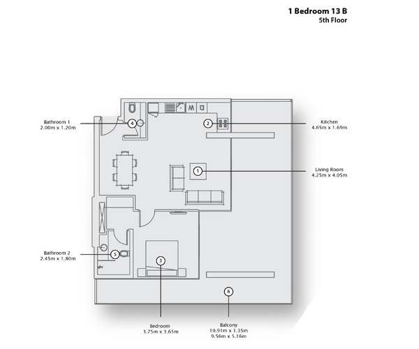 1 Bedroom Apartment 13 B, 5th Floor