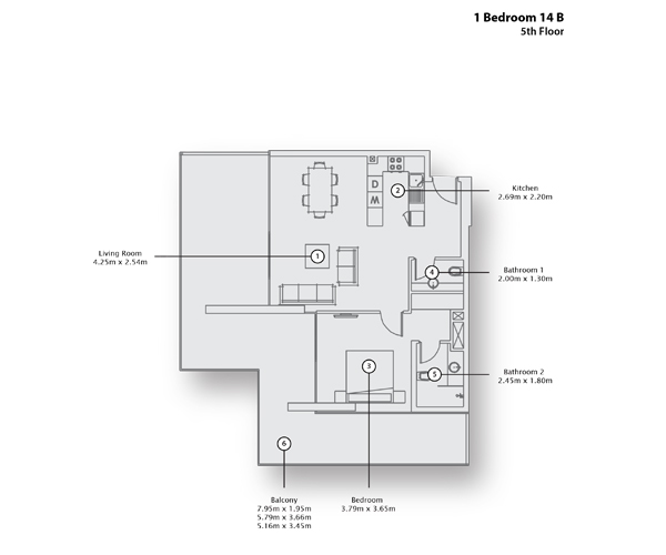 1 Bedroom Apartment 14 B, 5th Floor
