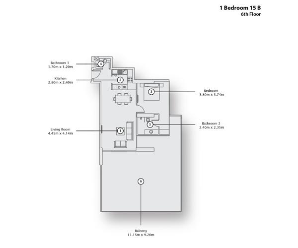 1 Bedroom Apartment 15 B, 6th Floor