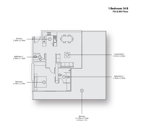 1 Bedroom Apartment 16 B, 7th & 8th Floor