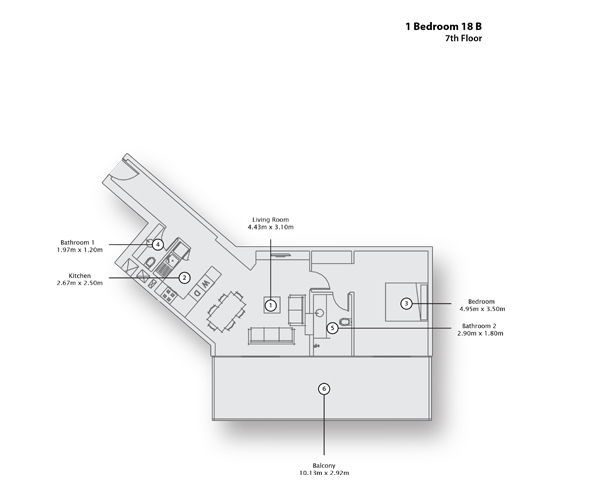 1 Bedroom Apartment 18 B, 7th Floor