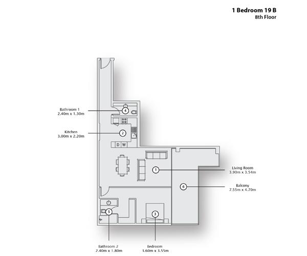 1 Bedroom Apartment 19 B, 8th Floor