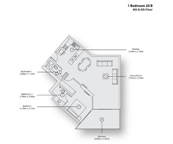 1 Bedroom Apartment 20 B, 8th & 9th Floor