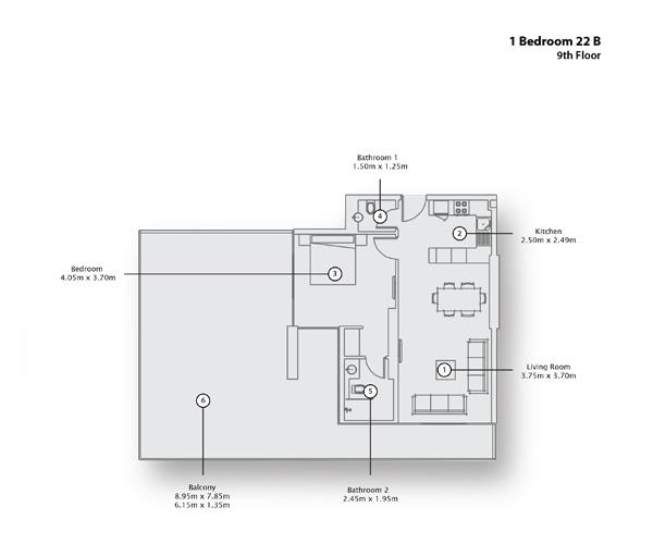 1 Bedroom Apartment 22 B, 9th Floor