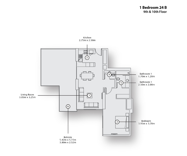 1 Bedroom Apartment 24 B, 9th & 10th Floor